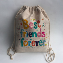 best friend forever Print Custom Vintage Outdoor Beach Gym Swimming Clothing Shoes Storage Bag Drawstring Backpack(China)