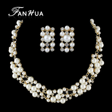 FANHUA Wedding Jewelry Set Simulated Pearl Jewelry Perolas Rhinestone Collar Necklace Bridal Sqare Earrings(China)