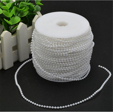 10m in length 3mm Bead Pearl String (White) for Craft , Wedding Decoration AA7952(China)