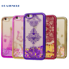 "Soft TPU Phone Case For Apple iphone 6 Plus 6S Plus 5.5"" Plating shell Case Dynamic Bling Liquid Glitter Quicksand Back Cover"