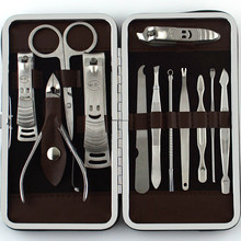 12pcs Manicure Set and kit Pedicure Scissor Tweezer Knife Ear pick Utility Nail Clipper Kit, Stainless steel Nail Care Tool Sets(China)