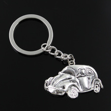 new fashion men 30mm keychain DIY metal holder chain vintage car vw bug beetle herbie 39*26mm antique silver pendant(China)