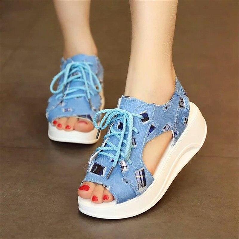 2017 Fashion Women Sandals Denim Summer Shoes Soft Sandals muffin Shoes Woman Patch Waterproof Wedges Platform Sandals X468<br><br>Aliexpress