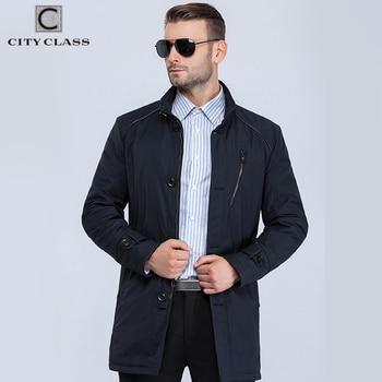 City Class 2016 nouveau hommes printemps automne chaud manteaux pied de col bussiness style mode casual tranchée mince pour les hommes 16512