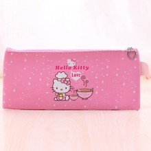 Cute Hello kitty pencil cases for girls Kawaii Pink PU leather pen bag Kids gift Stationery pouch office school supplies(China)