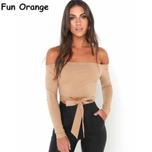 Fun Orange Off Shoulder Tie Up Blouse Long Sleeve Shirts Tops Women Bow Casual Autumn 2017 Streetwear Shirt Ladies Tops(China)