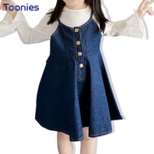 Autumn Denim Cotton Suspender Kids Dresses for Girls Cowboy Fashion Jeans Pincess Party Dress Kids Clothes Button Rapunzel Dress