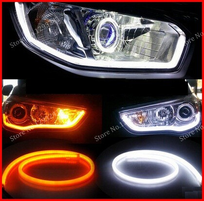 1 pair 60CM white+yellow Flexible LED Car Daytime Running Light Angel Eye DRL Decorative Light With Turn Signal FREE SHIPPING<br><br>Aliexpress