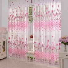 Free shipping Tulip Printed Tulle Voile Door Window Curtain for living room Sheer Drape Panel 200 x 100CM(China)