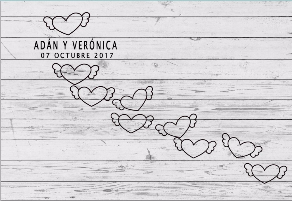 Horizontal Vinyl wooden texture with hearts photography backdrop for family photo studio portrait background <br>