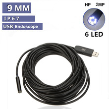 2MP Waterproof 9mm USB Inspection Camera Endoscope borescope endoscope Snake Scope 6LEDs industrial endoscope 7M Cable(China)