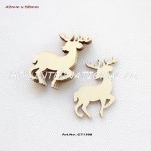 "(60pcs/lot) 50mm Blank Unfinished Wood Reindeer Christmas Ornaments Moose With Strings 2""-CT1308(China)"