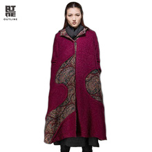 Outline Brand Winter Woolen Coat Irregular Long Wool Women Down Plus Coat Original Design Coat Wool Fur Hooded Jacket L144Y027(China)