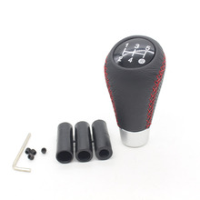 Dongzgen Genuine Leather Universal 5 Manual Car Gear Shift Knob With Red Stitch gear shift knob led shift knob