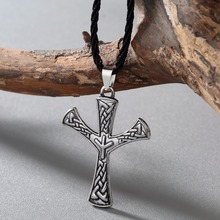 CHENGXUN Mens Irish Viking Necklace Norse Odin Cross Scanidavian Pewter Pendant Necklace 316L Stainless Steel Amulet Necklace(China)