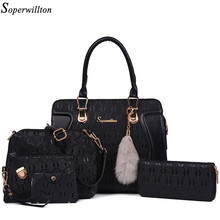Soperwillton Brand Bags Women Real Raccoon Fur Accessory Shoulder Handbag Composite Bag 5 Pieces Set Bags Female Wallets #1136(China)