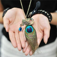 Fashion Chinese Wind! Blue Peacock wonderful long peacock Feather Necklace el collar Jewelry