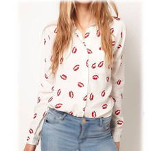 MAKE Hot Flower Printed Women White Turn-down Collar Shirt Red Lip Print Blouse Long Sleeve Shirt(China)