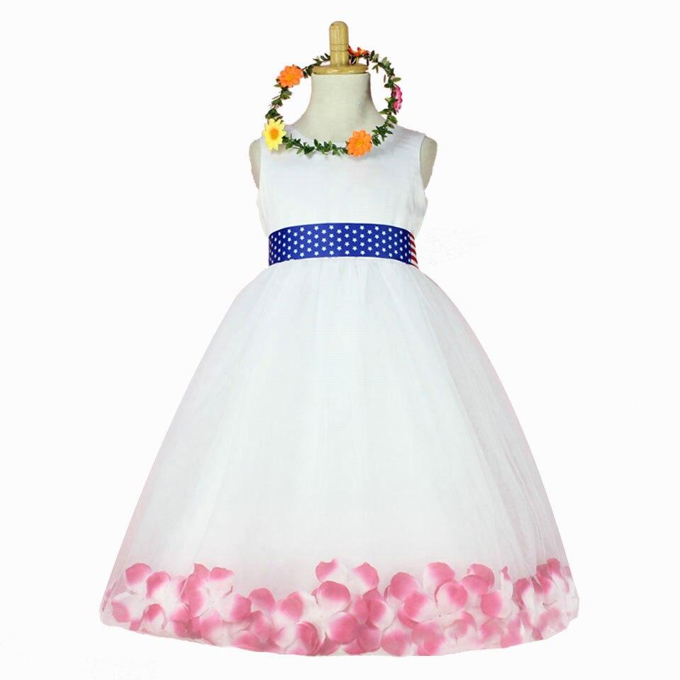 Fashion high quality kids wedding dress america flag belt princess petal flower girl dresses<br><br>Aliexpress