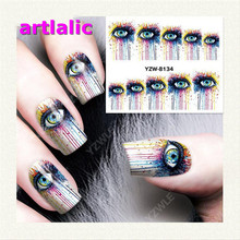 Gothic Eyes Manicure Nail Sticker Gradient Stick On 8134 Water Transfer Decals Polish DIY Nail Art Tips