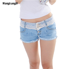 jeans women shorts ladies lace stitching Decorative flowers low waist summer hot pants row buckle trend large size wangcangli(China)