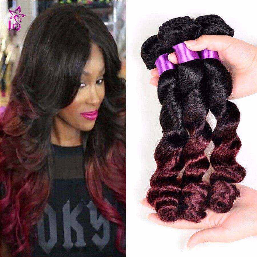 Burgundy Loose Wave Brazilian Hair Ombre Loose Deep Wave Loose Curly Virgin Hair 1B 99J Red Dark Spiral Curl Weave 3 Bundles JS<br><br>Aliexpress