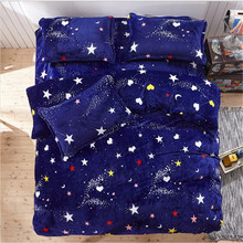 luxury Cartoon Design flannel 4pcs student bedding 1pcs quilt cover/1pcs bed sheet/2pcs pillowcase free shipping(China)
