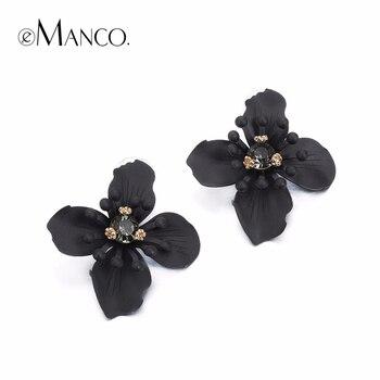 EManco Maintenant de Tendance Fleur Déclaration Boucles D'oreilles pour les Femmes et Fille Noir Strass Métal Marque Bijoux pour 2016 D'été
