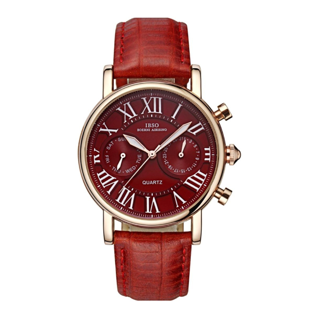 IBSO Casual Mens Watches Date Day Grand Dial Roman Numeral Rose Gold Tone Watches 6819<br>