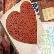 Heart Shape Blocks Wooden Rubber Craved Printing Stamp Wood DIY Fashion Craft School Scrapbooking Decor