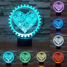 7 color change Valentine Gift Gear Heart 3D Led Night Light USB Touch Swtich Desk Lamps For Home Decoration lighting IY803616