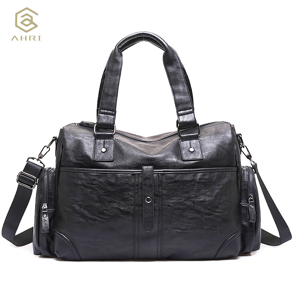 AHRI NEW 2017 Fashion Black Handbag For Men Solid PU Leather Shoulder Mens Casual Tote Bags Vintage Business Top-handle Men Bag<br>