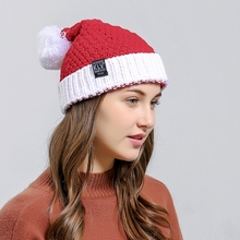 KLV Women Winter Christmas Santa Claus Knit Hat Soft Slouchy Beanie Hollowen Present(China)