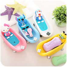 Cute cartoon creative totoro / doraemon/stich/duck/yellow man bath soap box soap tray soap dish children bath toy