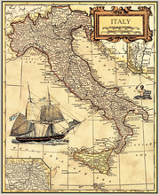 Free ship oil painting canvas printing Retro map ITALY Vintage cuadros decoracion wall sticker home decor wallpaper AP05(China)