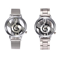 Luxury Retro double-sided hollow Music Note Notation Watch Men Women Mesh Watches Stainless Steel Quartz Wrist Watches Clock(China)