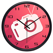 Camera Cute Modern Shop Glass 3 Size 3 Color 12/14inch Wall Clock(China)