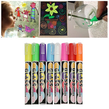 8 Colors Highlighter Pen 3mm Double-ended Liquid Chalk Fluorescent Neon Marker Glass Board Art Marker Pens Office Supplies