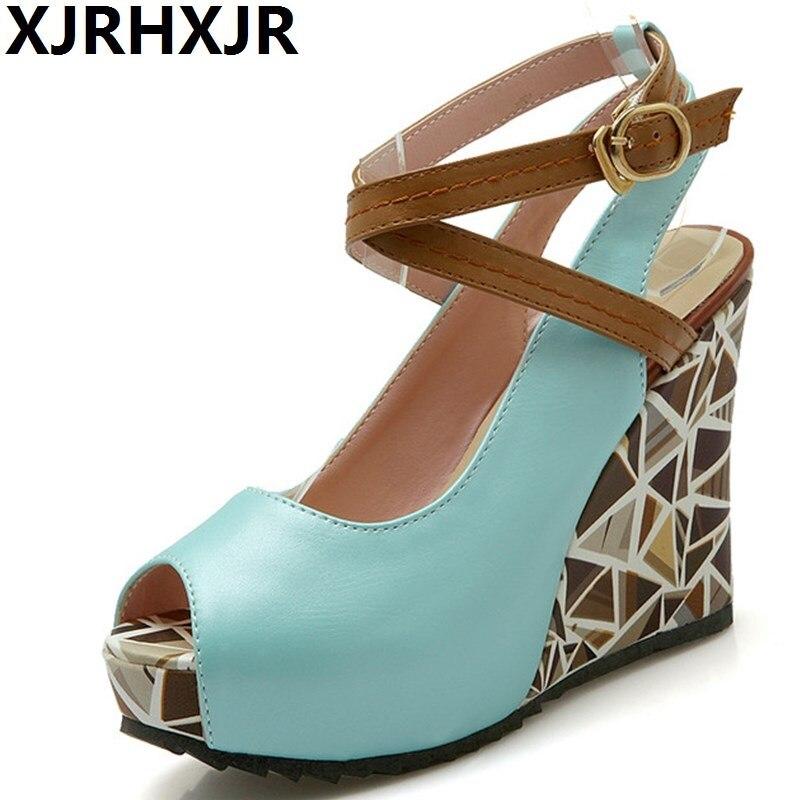 XJRHXJR Shoes Woman Gladiator Sexy Open Toe Pumps Ladies Summer Fashion Platform Sandals Wedges Heel Women Work Casual Shoes<br>
