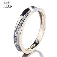 HELON Solid 10K Yellow Gold Half Eternity Band Natural Diamonds Engagement Wedding Band Anniversary Band Women's Fine Jewelry