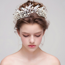 Big Crystal Bridal Crowns White Pearl Wedding Tiaras And Crowns Party Hair Jewelry Wedding Hair Accessories Bridal Headpiece