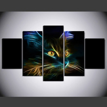 5 Pieces Color Abstraction Animal Cat Painting Canvas Wall Art Picture Home Decoration Living Room Canvas Print Modern Painting(China)