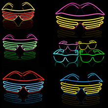 2017 Blue el glasses El Wire Fashion Neon LED Light Up Shutter Shaped Glow Sun Glasses Rave Costume Party DJ Bright SunGlasses(China)