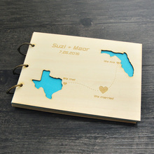 Rustic wedding guestbook Custom State Wood Wedding Guest Book Anniversary Valentine Gift(China)