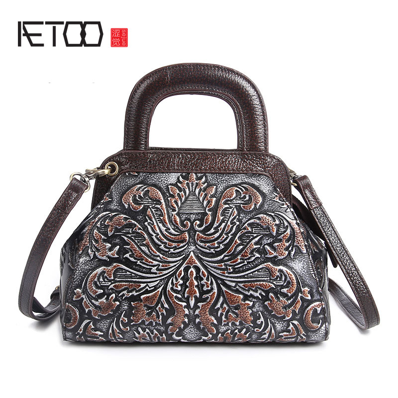 AETOO brand The New Retro embossed leather handbag handmade brush color multifunction leisure portable Shoulder Messenger Bag<br>
