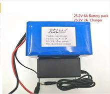 New 24V 6Ah 6S3P 18650 Battery li-ion battery 25.2v 6000mah electric bicycle moped /electric/lithium ion battery pack+1A Charger