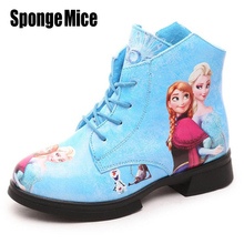NEW Hot Sale 2017 Autumn Elsa Anna Children's Snow Boots Girl Boots Princess Children's Shoes kids Boots Warm Martin Shoes