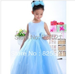 Free Shipping 2016 summer new children christening Princess Dress girls Performances dress long wedding dress<br>