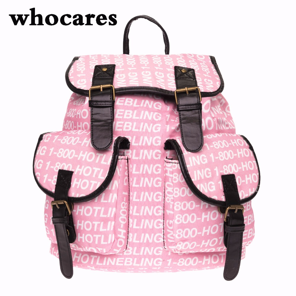 HOTLINE BLING pink Printing leather backpack vintage backpack women 2017 Who Cares fashion new mochila school bags for teenagers<br><br>Aliexpress