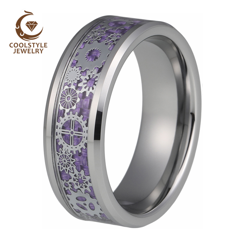 Tungsten Carbide Beveled Edge Comfort Fit Half Round Band Ring with Black Carbon Fiber